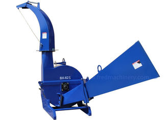 China Blue Color Self Feeding Wood Chipper 30 - 100 HP 6 Inch Chipping Capacity supplier